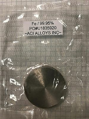 ACI ALLOYS Iron 99.95% pure Sputter Target, 2 inch x 3mm, bonded to 3mm copper