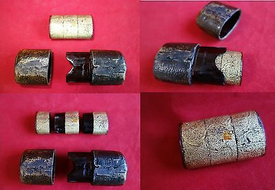 Samurai Saya scabbard Inro pill box late Edo gold color inside 3 story type