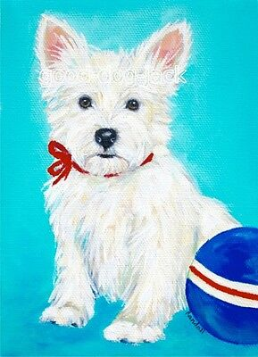 """West Highland Terrier ACEO WESTIE PRINT Painting """"My Little Puppy"""" Dog RANDALL"""