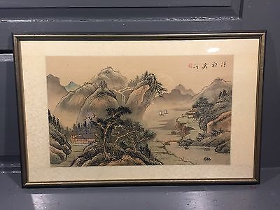 20th C Chinese Master Landscape Painting Scroll Signed CHUANG YU ZHOU