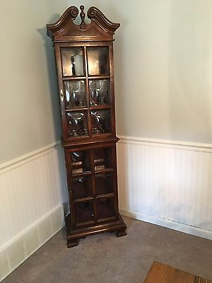 Vintage Bubble Glass Curio Cabinet Furniture China Rare Collectible Shelf Wooden