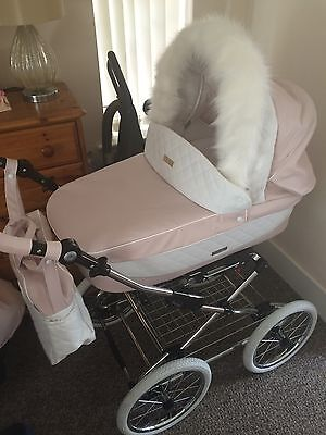 Prestige Baby style Nude Pink Pram With Fur Trim And Pushchair