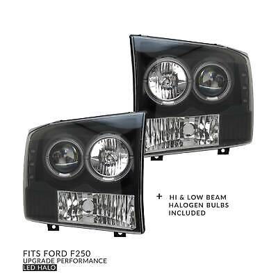 Headlights PAIR Projector LED Halo Fits Ford F250 F350 Super Duty 1999-2005