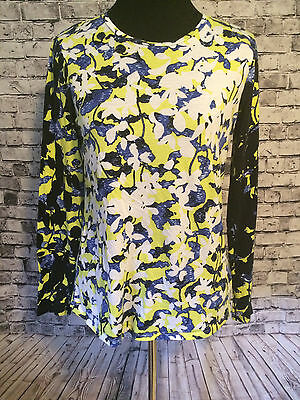 Peter Pilotto Casual T Shirt Long Sleeve lFloral Print Blue Yellow Black Size M