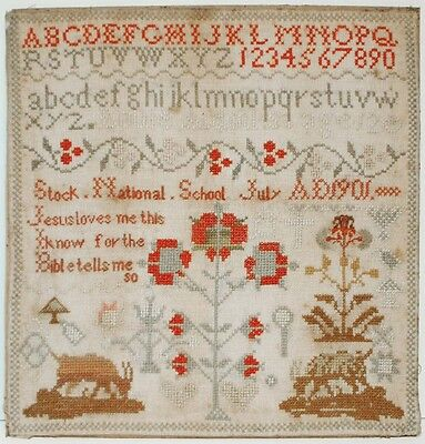 """Early American Decorated Sampler LOUIE ALDOUS '12 Years old 1901' 11.5"""" x 12"""""""