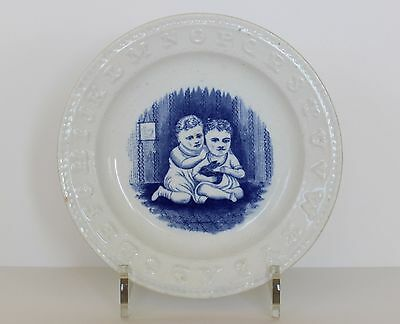 TWO CHILDREN with RABBIT Antique Staffordshire Pottery Alphabet Child ABC PLATE