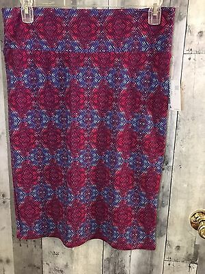 LuLaRoe Cassie Pencil Skirt Size Large NWT Pink Blue Triangle