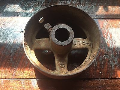 Vintage Flat Belt Pulley Hit Miss Pulley Wheel Stationary Engine 6 3/4""