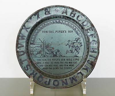 TOM THE PIPER'S SON Antique ABC LITHOGRAPH TIN PLATE Advertising LAVA in Blue