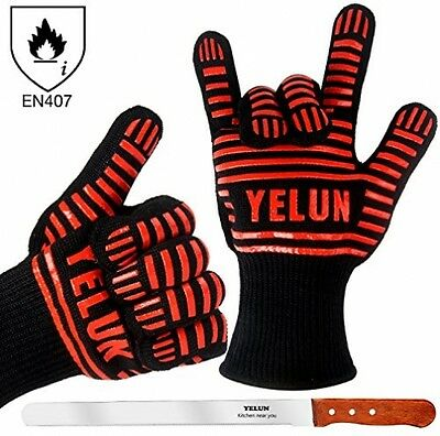 YELUN BBQ Grill Gloves - 932F Extreme Heat Resistant Oven Mitts With 100% - and