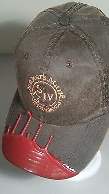 NEW MAKERS MARK SIV Embroidered Oil Cloth Hat Bourbon KY Whiskey Red Wax Drip