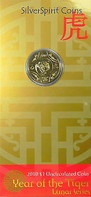2010 $1 YEAR OF THE TIGER LUNAR Coin on Card