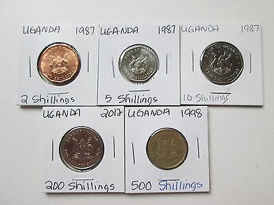 UGANDA:   5 coins, 1987-2012, circulated-uncirculated,  carded, NO DUPS