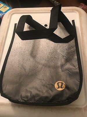 Lululemon Black White Speckled Small Reusable Tote Carryall Lunch Gift Bag New