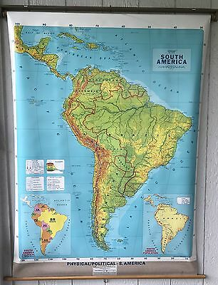 """Concept Map Large South America Map 60""""X44"""" Rolling Map South America"""