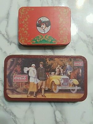 Vintage Coca Cola Advertising Collectors Tins, one with 2 decks of playing cards