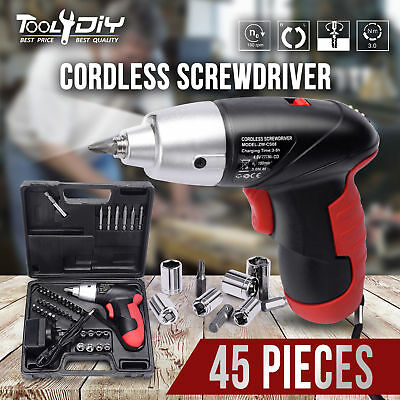 TOOL4DIY 45 Pieces 4.8V Cordless Screwdriver Drill Driver Set Screw Sockets Bits