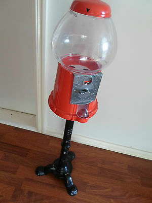 Gumball Machine All Metal Top & Stand Plastic Bowl In Good Cosmetic Working Cond