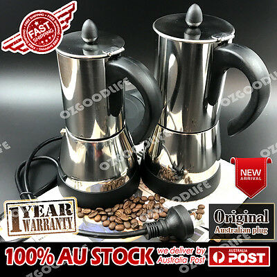 Electric Espresso Moka Stainless steel Coffee Maker Italian 4/6cups Father's Day