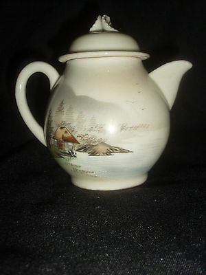 Small Japanese Hand Painted Pottery Lidded Jug