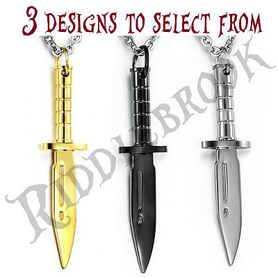 Rambo knife stainless steel pendant crocodile dundee pig sticker bowie necklace