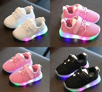 Kids Baby Toddler Flash LED Light Up Shoes Sneakers Boys Girls Luminous Trainers