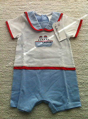 BNWT Spanish Tutto Piccolo Baby Boy Romper 6 months