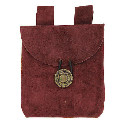 Medieval Suede Leather Wine Berry Red Petite Costume Belt Pouch with Closure
