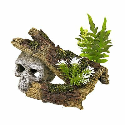 Skull Log with Plants Aquarium Decoration Fish Tank Ornament Vivarium Decor