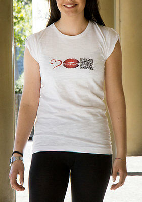 T-shirt Donna 100% cotone made in Italy maglietta bianca con stampa qr-code