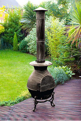 Large Cast Iron Chiminea 180cm Garden Patio Heater
