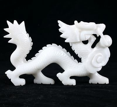 100% Natural White Jade Hand Carved Dragon Statues DY205