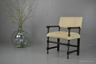Antique Early 20th Century Oak Bobbin Turned Chair