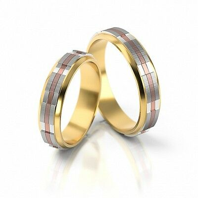 1 Pair Wedding rings Bands wedding rings Gold 585 - Tricolor - width: 5,0 mm