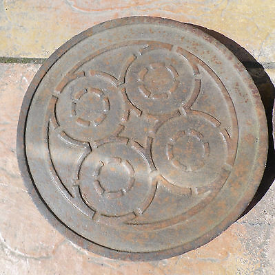 Antique  Garden Cast Iron Coal Hole Cover And Frame 100% Original, Patterned,