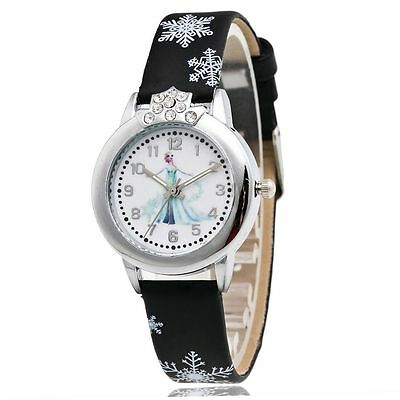 Watch Elsa Frozen Disney Anna Kids Quartz Fashion Girls Leather Cute Wristwatch