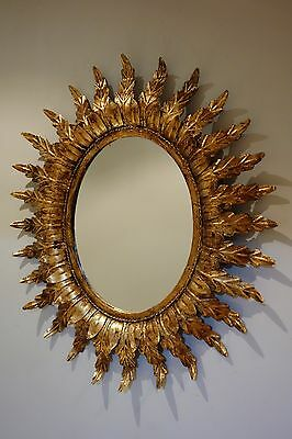 Espejo vintage sol metal dorado 60's sunburst mirror metal antique sunburst