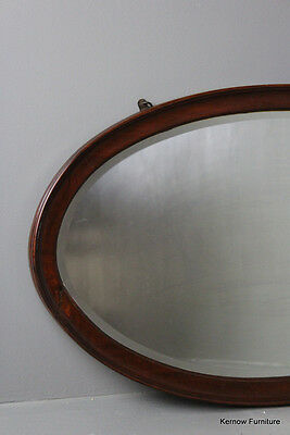 Oval Antique Vintage Traditional Style Mahogany Wall Mirror