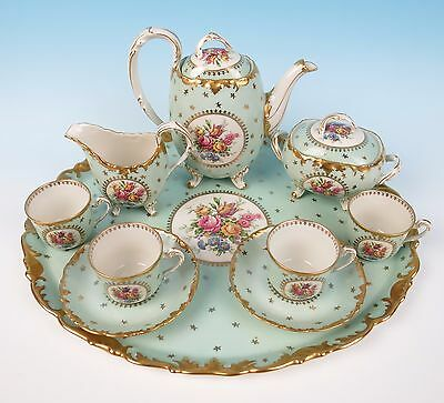 Elite Limoges Porcelain Tea Set Tray Teapot Cup & Saucer Bawo Dotter French Gold