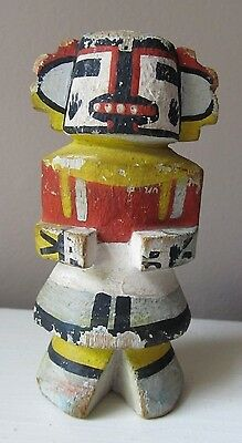 """Antique 1940s Wooden Painted KACHINA DOLL Hopi SIGNED  White Bear  4 1/3"""" Tall"""