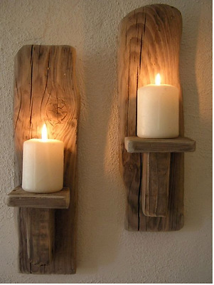 2 Irish Driftwood Wall Sconces handcrafted driftwood decor Country Cottage (X)
