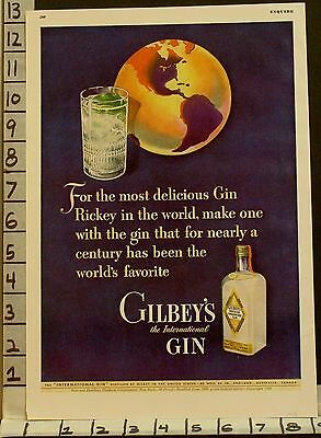 1943 Gilbey Gin Rickey Mixed Globe Bottle Alcohol Distillery Lime  2297122971