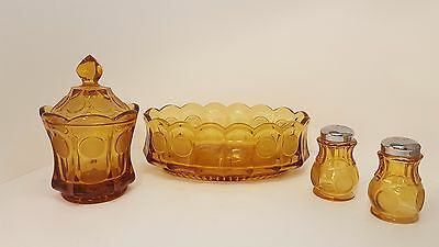 Fostoria Amber Lot of 3 Oval Bowl Sugar and Salt Pepper