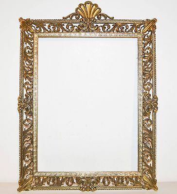 """Large Vintage Brass Metal Ornate Frame Made in Italy  21 1/2"""" x 15 3/4"""""""