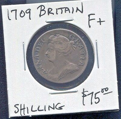 Great Britain - Beautiful Historical Queen Anne Silver Shilling 1709 Km# 523.1