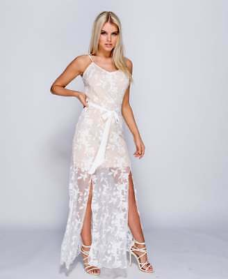 ~HAYLEIGH~ White Floral Lace Bodycon Evening Maxi Party Dress Size 6 8 10 12 14