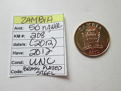 Single coin from ZAMBIA, 2012, 50 ngwee, KM 208, (2012),  Unc.