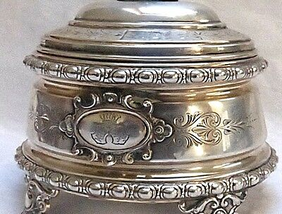 FRANCE: BIG French SUGAR BOWL in STERLING SILVER with ARMORIAL BEARINGS + CROWN
