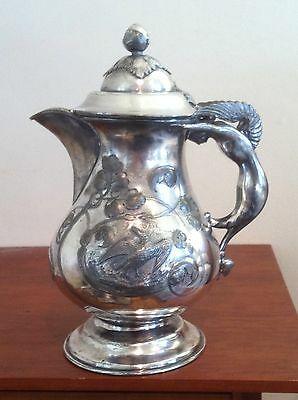 Antique Siren Winged Mermaid Silverplate Water Pitcher Jug American Eagle Chased