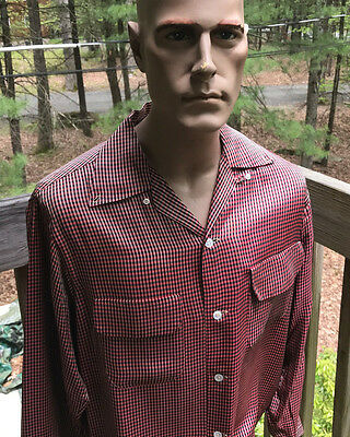 Rare Style Vintage 1950's Penny's Towncraft Rayon Flap Pocket Rockabilly Shirt L